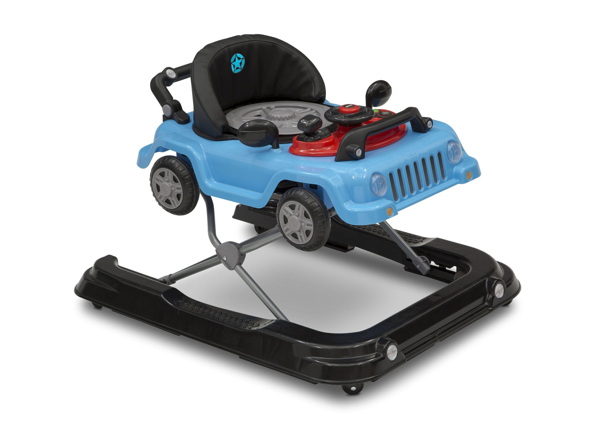 Jeep® Classic Wrangler 3-in-1 Activity Walker Blue (2315), Side View With Cover