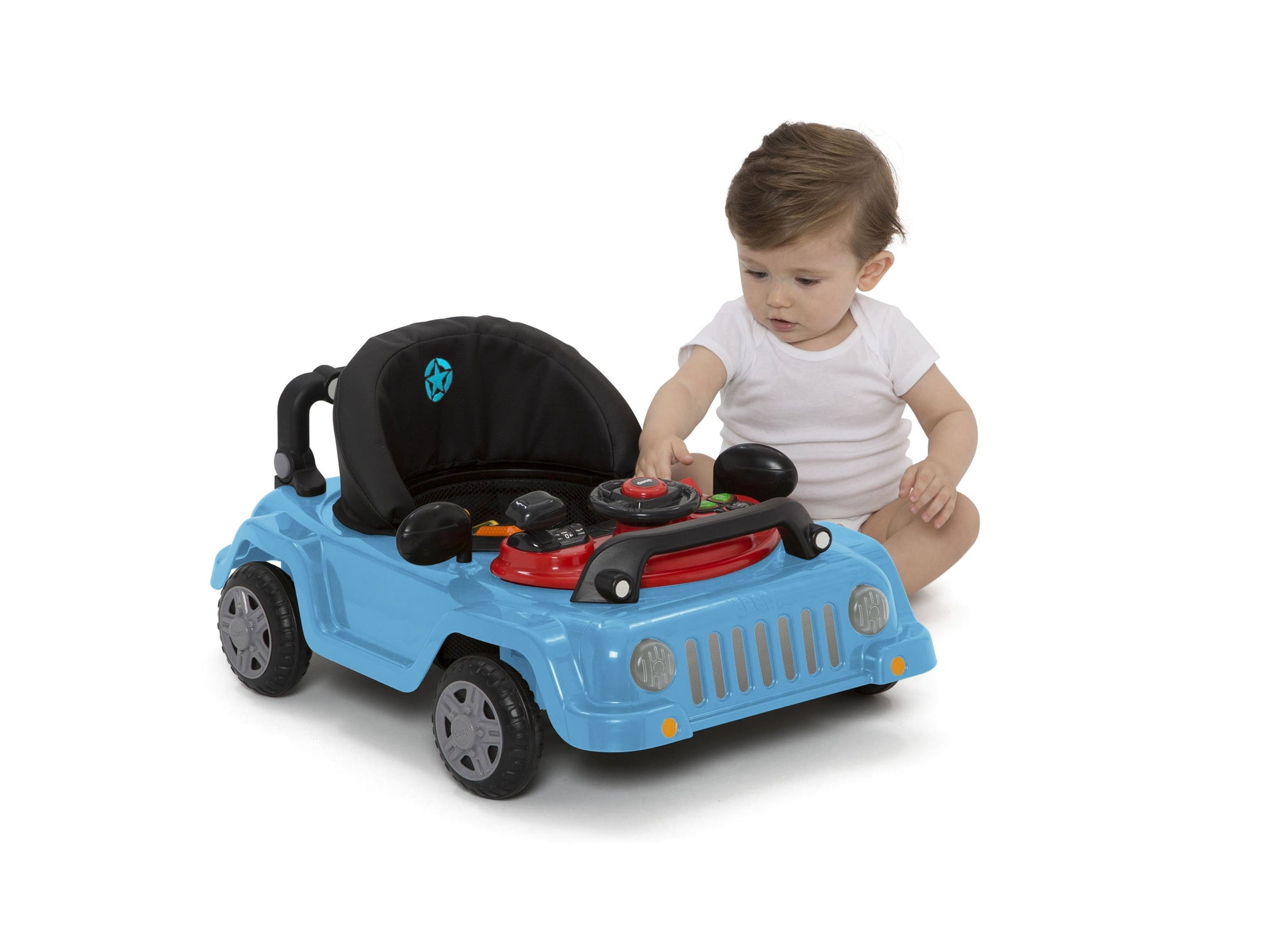 Jeep® Classic Wrangler 3-in-1 Activity Walker Blue (2315), Silo with Baby Playing