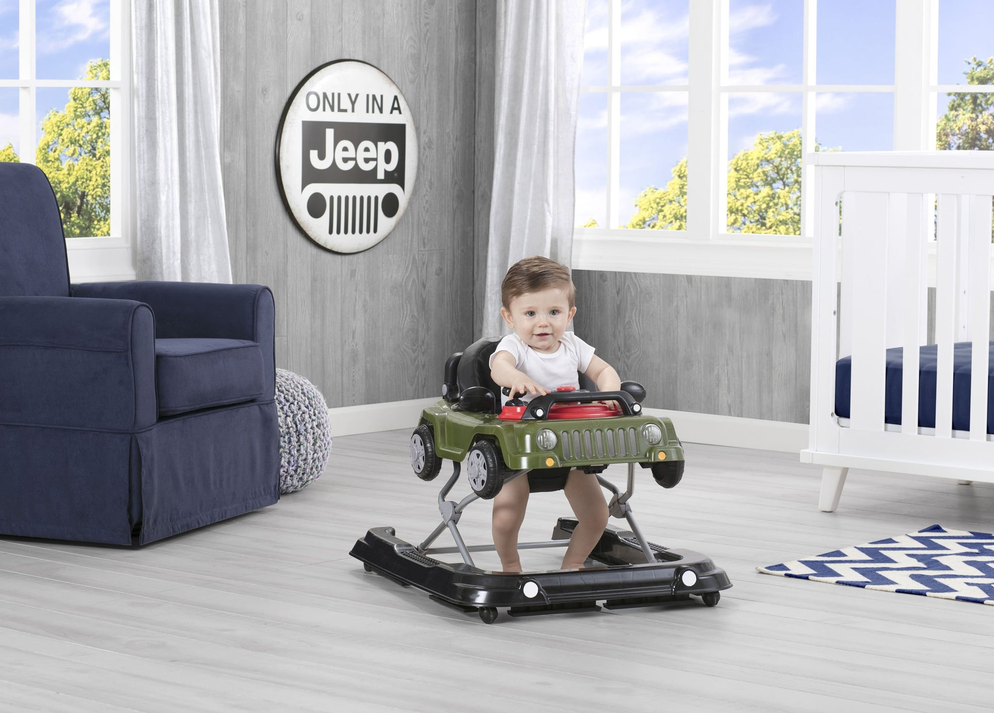 J is for Jeep Anniversary Green (348) Classic Wrangler 3-in-1 Activity Walker (22408), Hangtag with baby, a1a