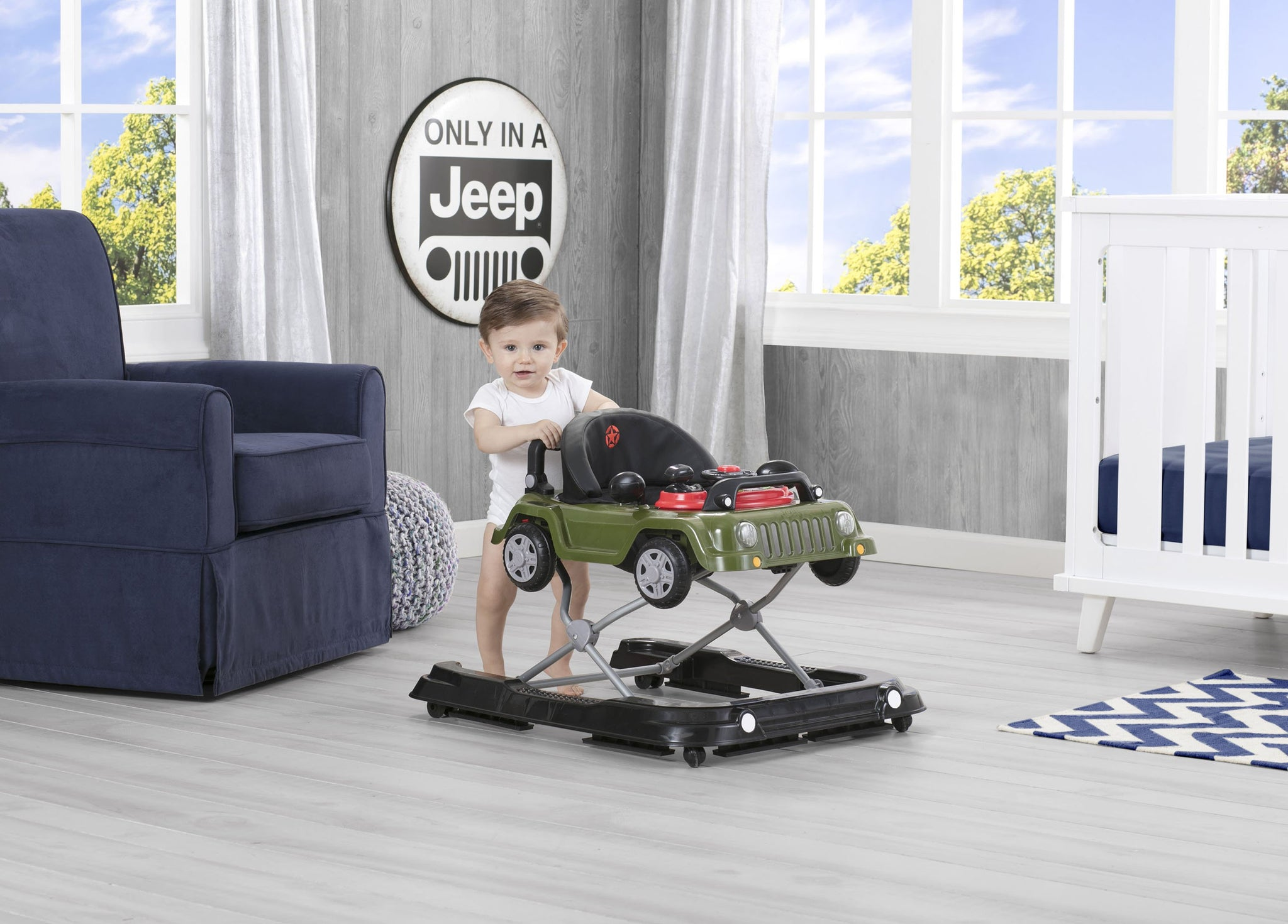 J is for Jeep Anniversary Green (348) Classic Wrangler 3-in-1 Activity Walker (22408), Hangtag with baby standing, a2a