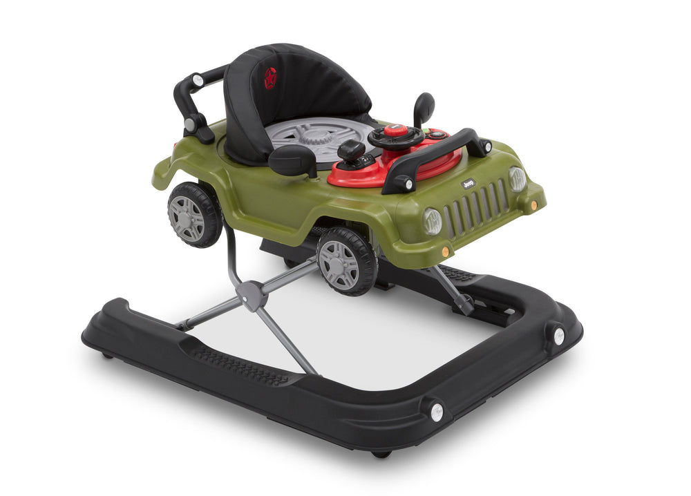 J is for Jeep Anniversary Green (348) Classic Wrangler 3-in-1 Activity Walker (22408), Angled with cover, a4a