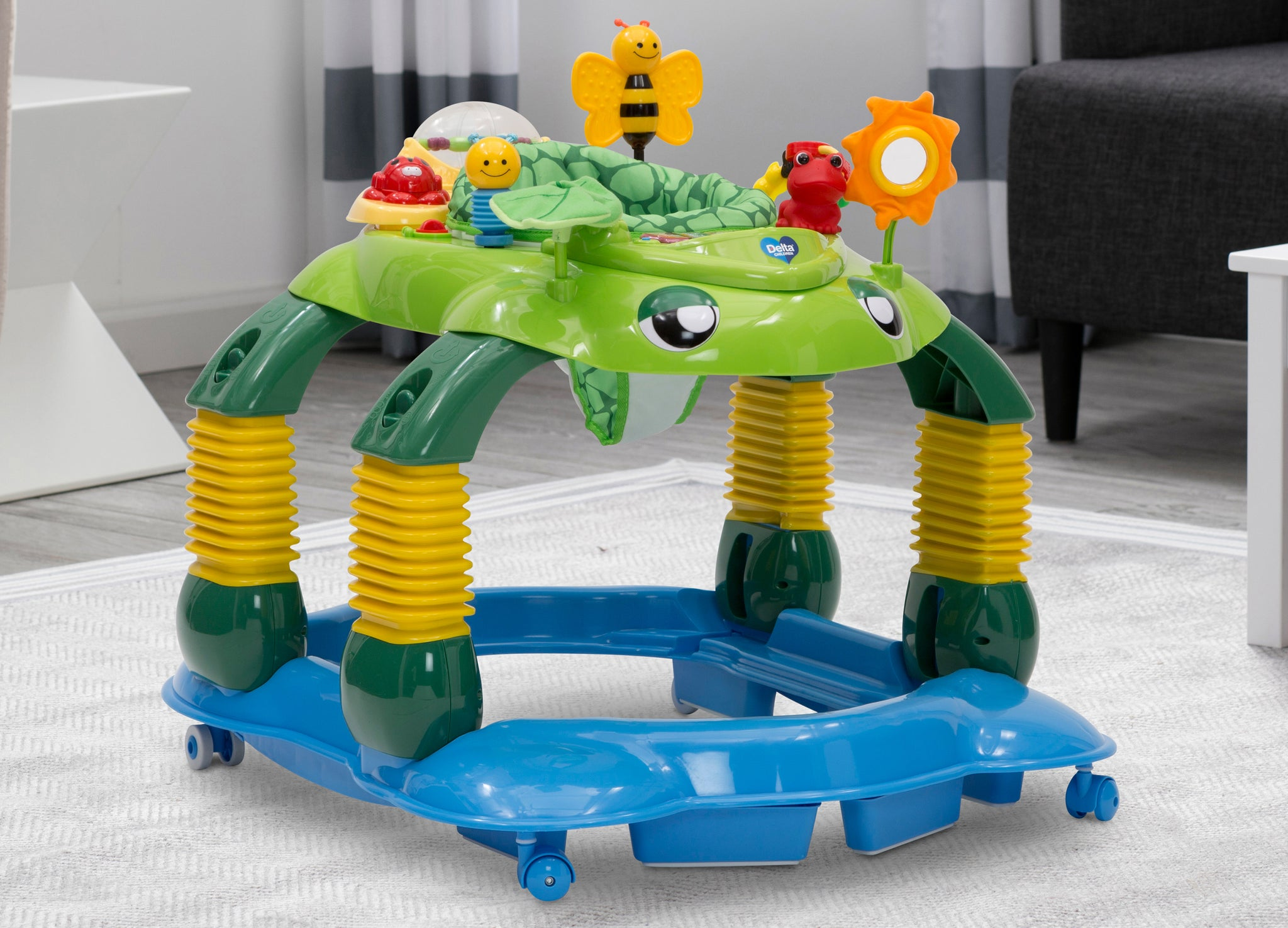 Delta Children Mason the Turtle (365) Lil' Play Station 4-in-1 Activity Walker Hangtag View