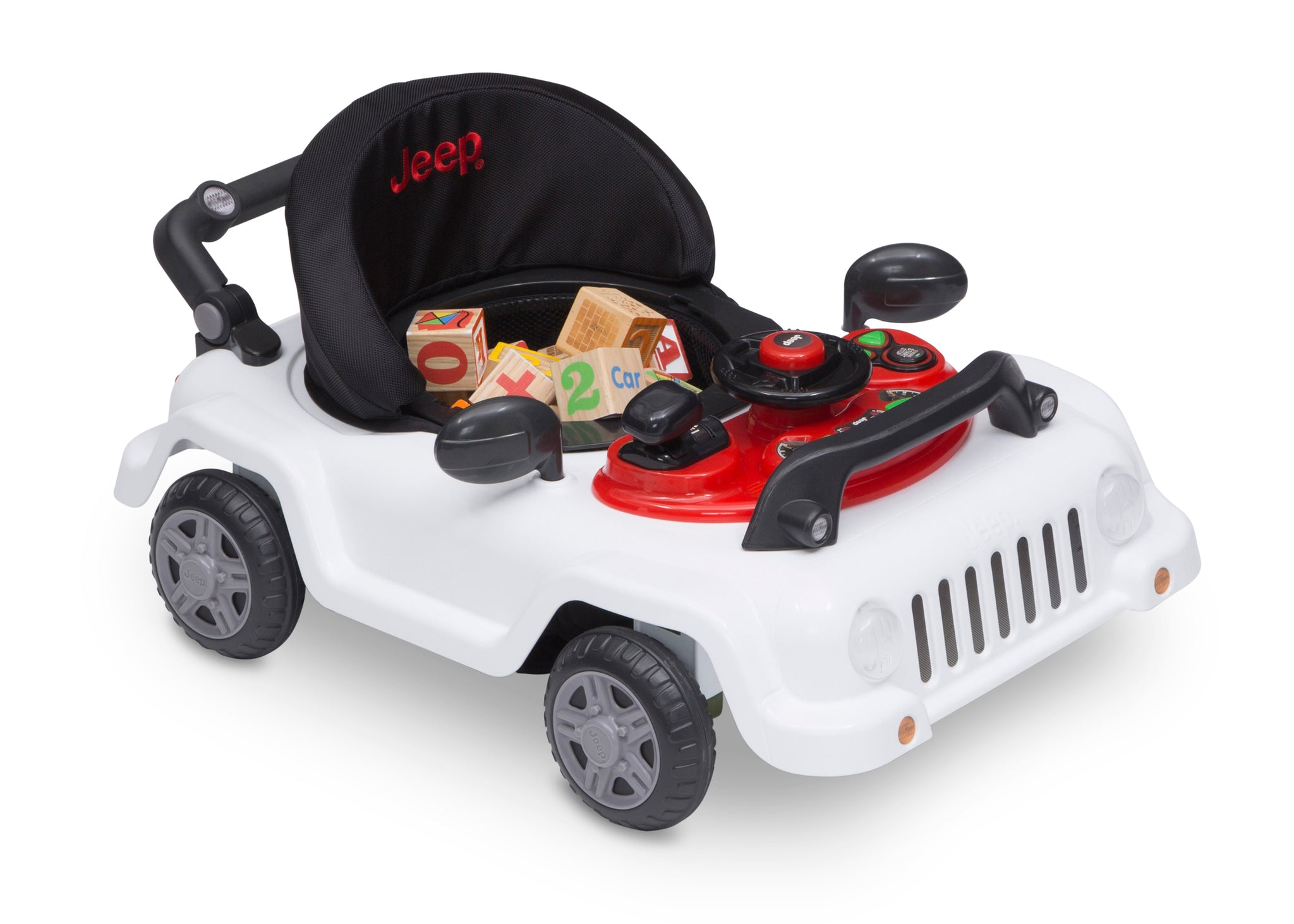 Jeep® Classic Wrangler 3-in-1 Grow With Me Walker,White (100), Toy tray requires 2 AA batteries
