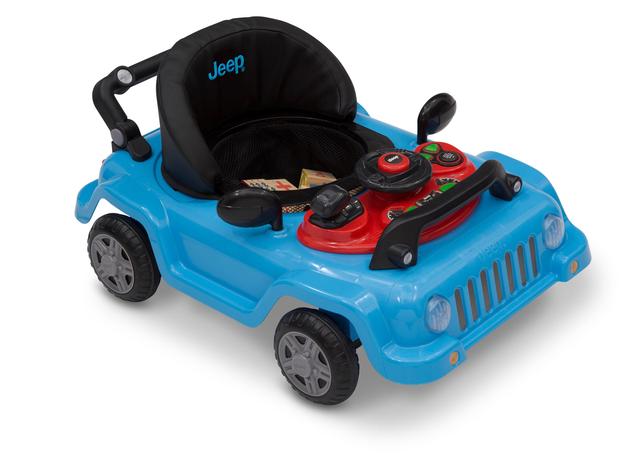 Jeep® Classic Wrangler 3-in-1 Grow With Me Walker, Anniversary Blue (2315), Toy tray requires 2 AA batteries