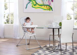 Delta Children EZ Fold High Chair Glacier (2069) Room Shot, b1b