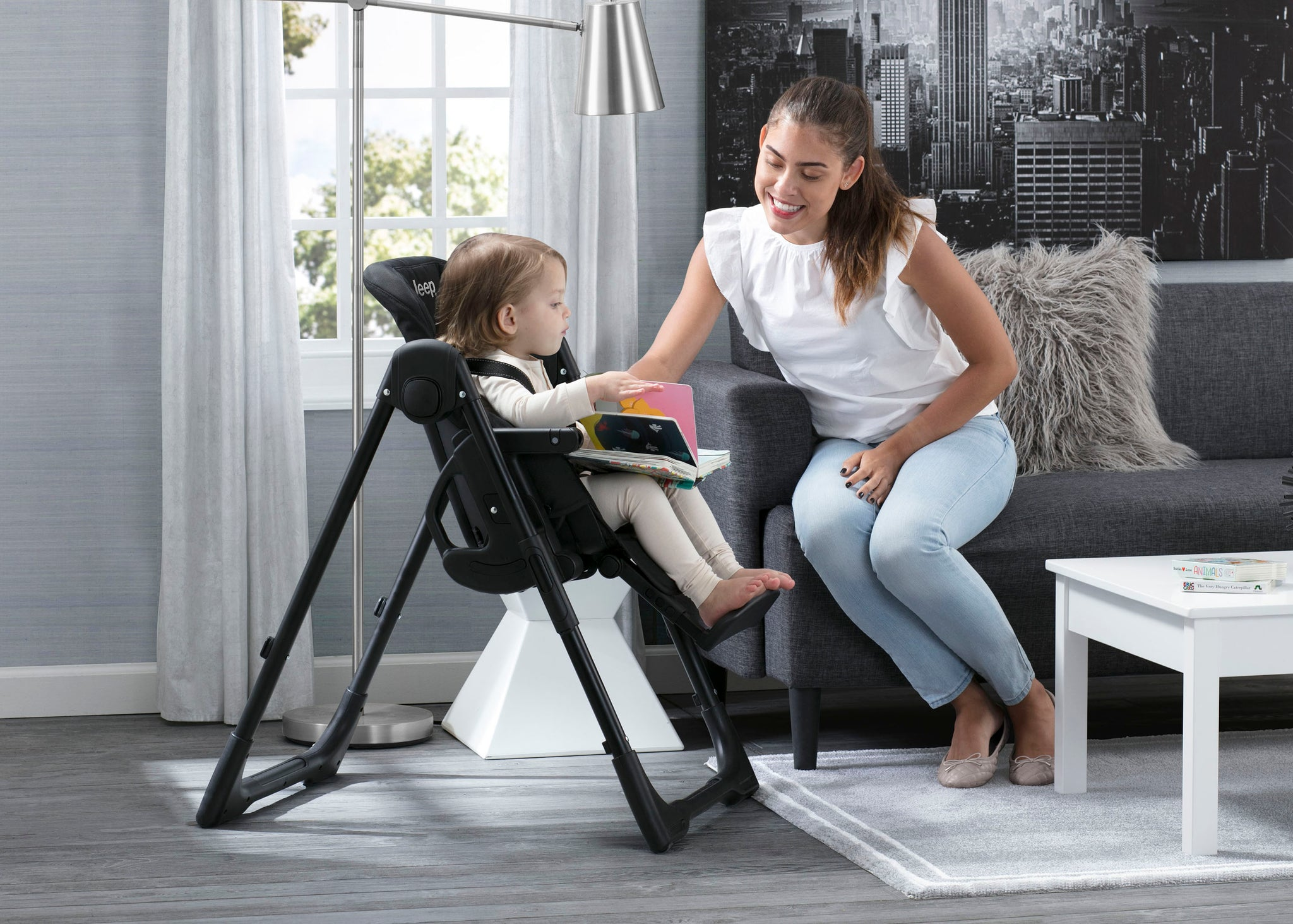 Delta Children Fairway  Midnight Black (2013) J is for Jeep Brand Classic High Chair, Room Shot a1a