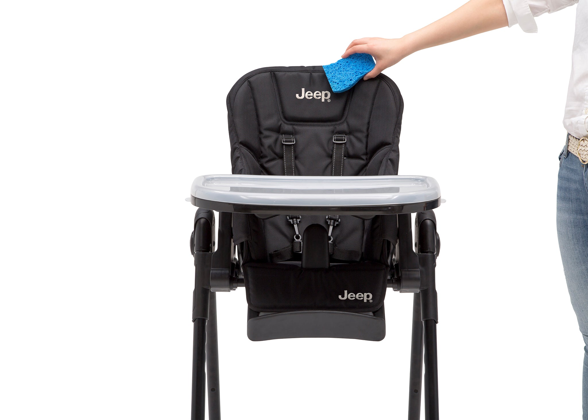 Jeep Classic Convertible High Chair for Babies and Toddlers by Delta Children, Midnight Black (2013), Dishwasher safe tray and water-repellent fabric