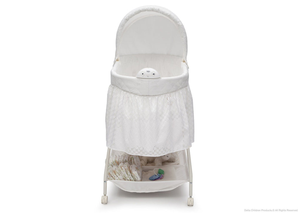 Delta Children Turtle Dove (113) Deluxe Sweet Beginnings Bassinet, Front View a2a