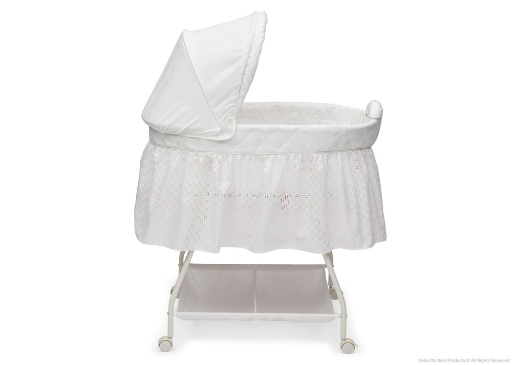 Delta Children Turtle Dove Deluxe Sweet Beginnings Bassinet, Full Side View