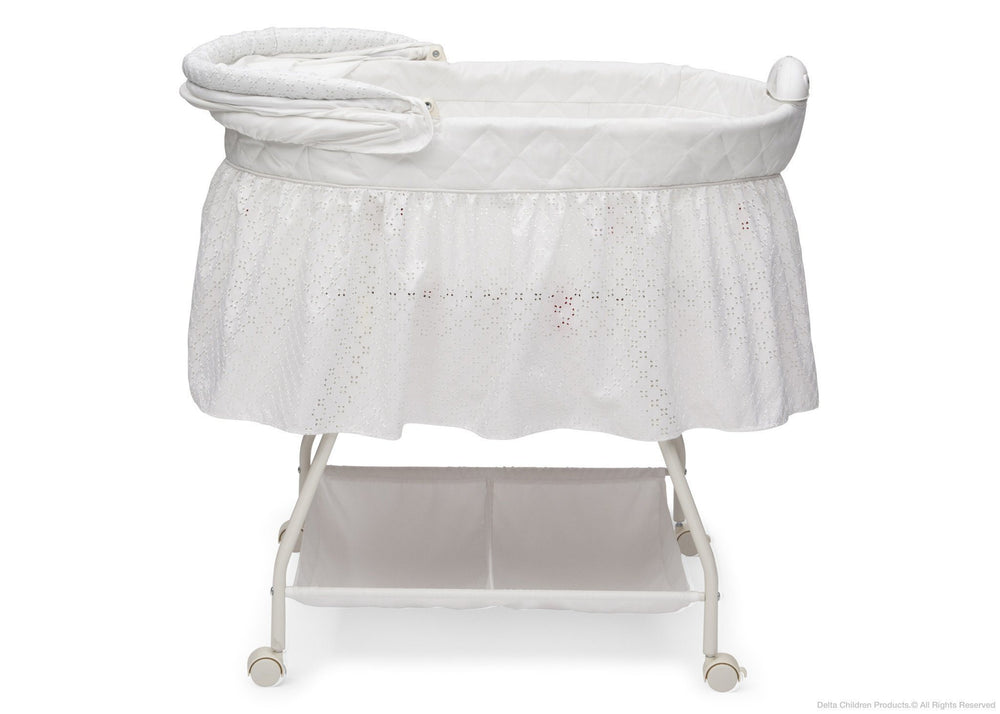 Delta Children Turtle Dove (113) Deluxe Sweet Beginnings Bassinet, Full Side View with Canopy Option a3a