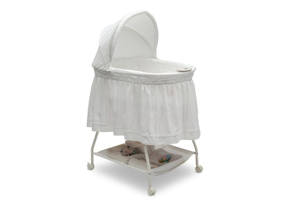 Delta Children White Eyelet (132) Deluxe Sweet Beginnings Bassinet, Right View e1e