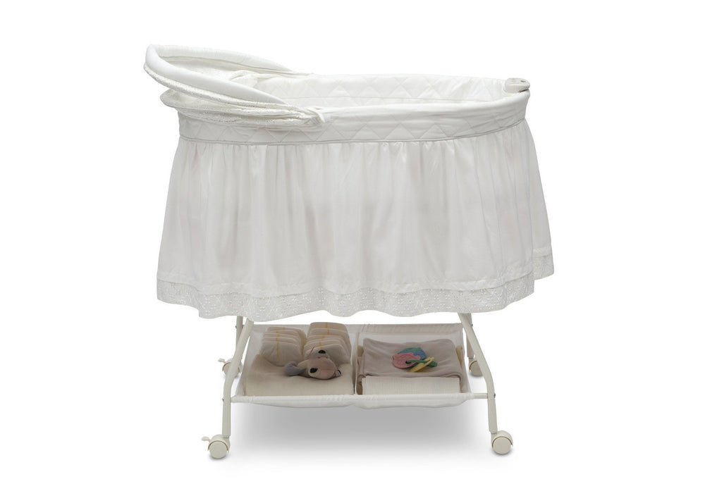 Delta Children White Eyelet (132) Deluxe Sweet Beginnings Bassinet, Side View e2e