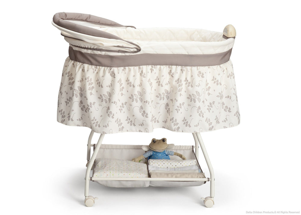 Delta Children Falling Leaves (138) Deluxe Sweet Beginnings Bassinet, Full Side View with Canopy Option b2b