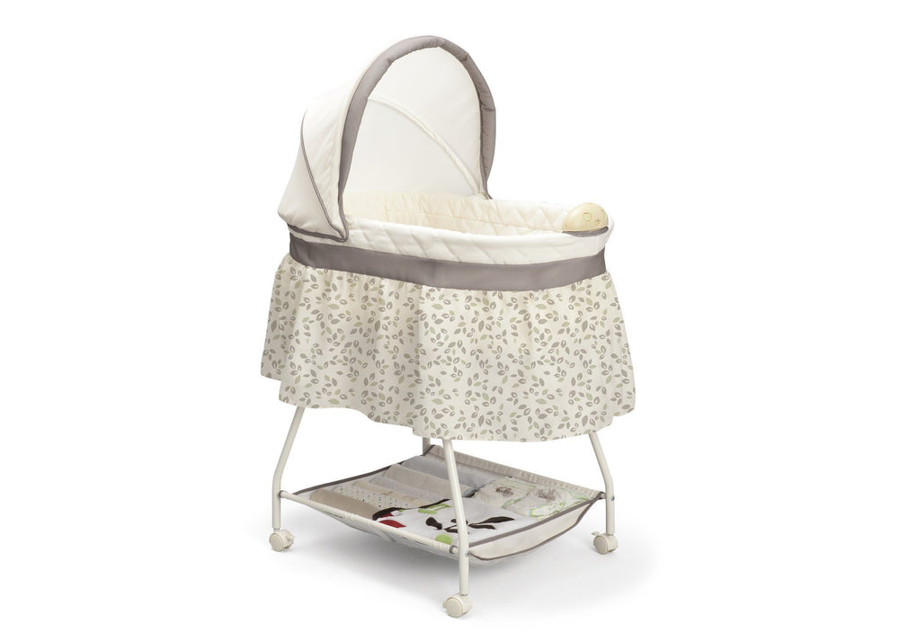 Delta Children Olive Leaf (294) Deluxe Sweet Beginnings Bassinet, Side View c1c