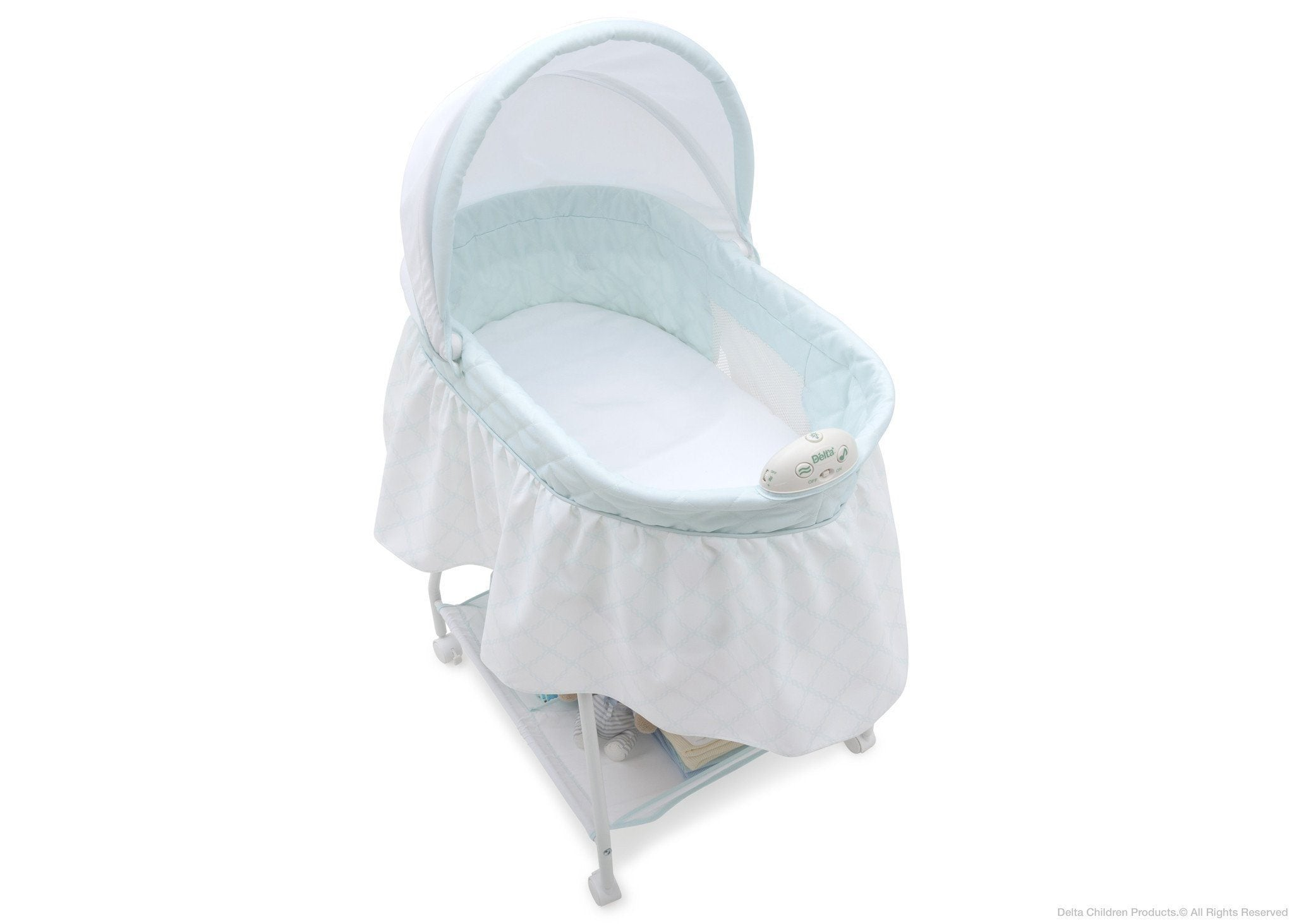 Delta Children Lattice (446) Deluxe Sweet Beginnings Bassinet, Above View d3d