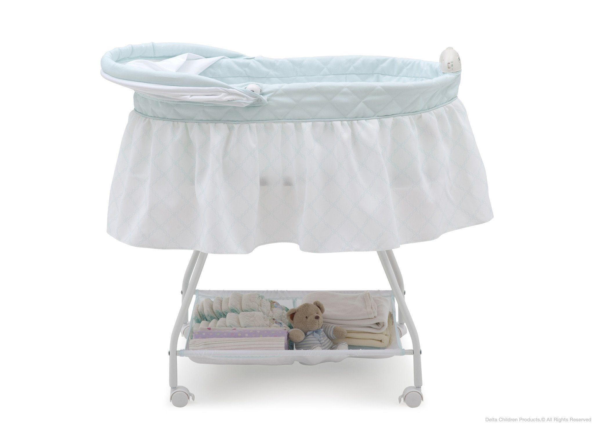 Delta Children Lattice (446) Deluxe Sweet Beginnings Bassinet, Side View with Canopy Option d2d