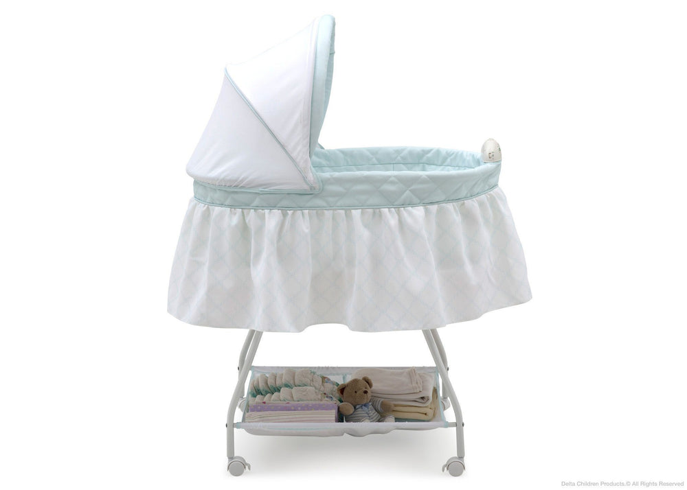 Delta Children Lattice Deluxe Sweet Beginnings Bassinet, Full Side View
