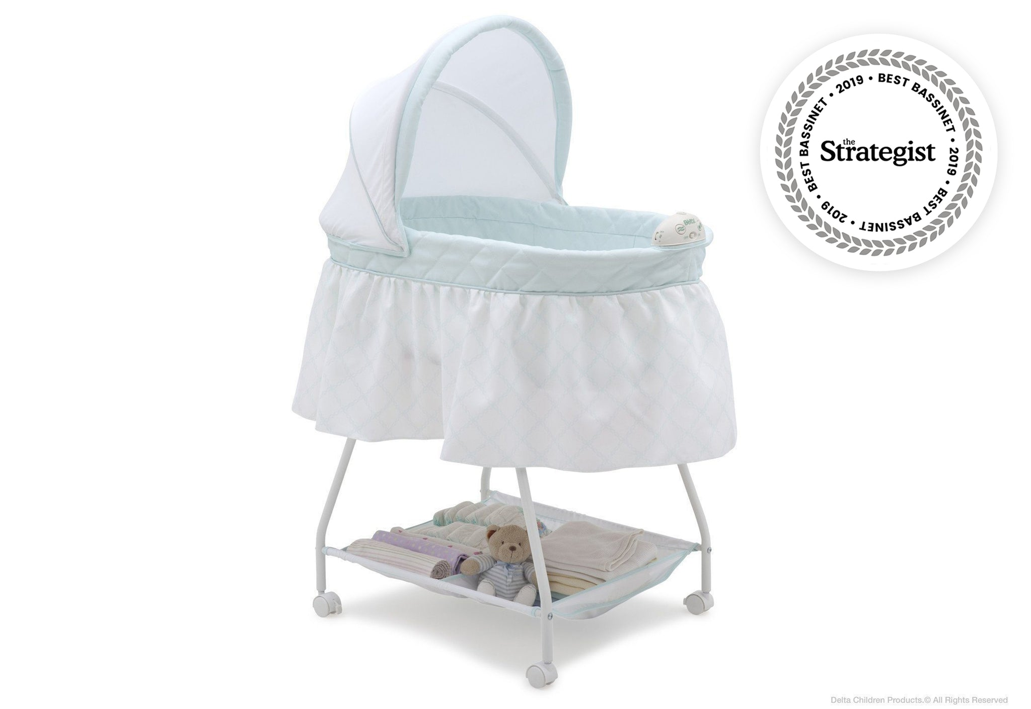 Delta Children Lattice (446) Deluxe Sweet Beginnings Bassinet, Side View d1d