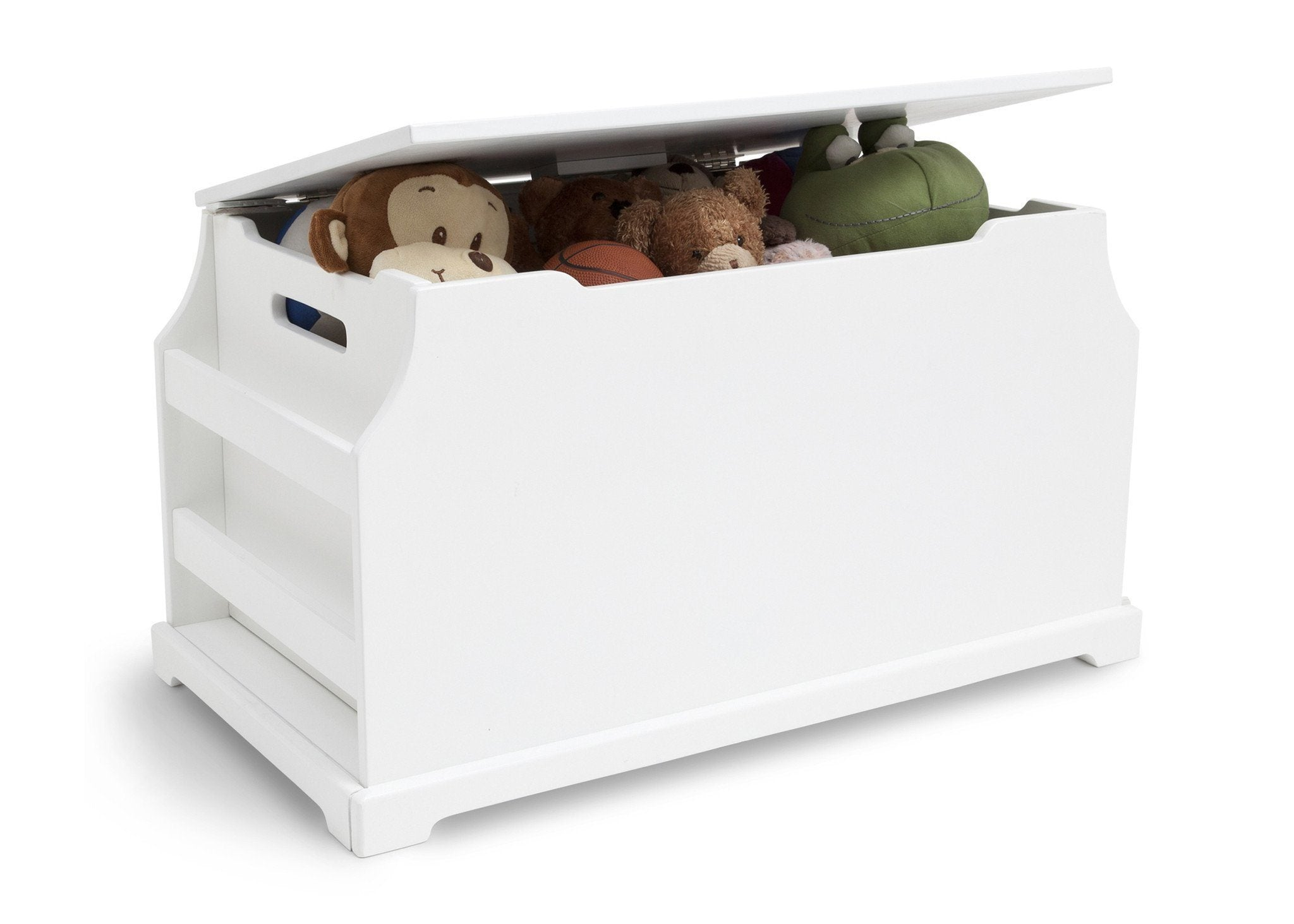 Delta Children White (100) Wood Toy Box Side View with Props a4a