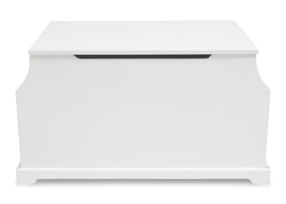 Delta Children White (100) Wood Toy Box Front View a3a