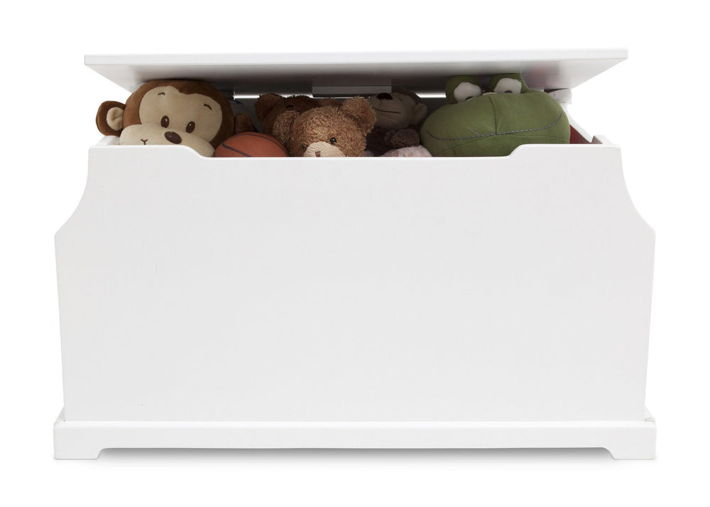 Delta Children White Wood Toy Box Front View with Props