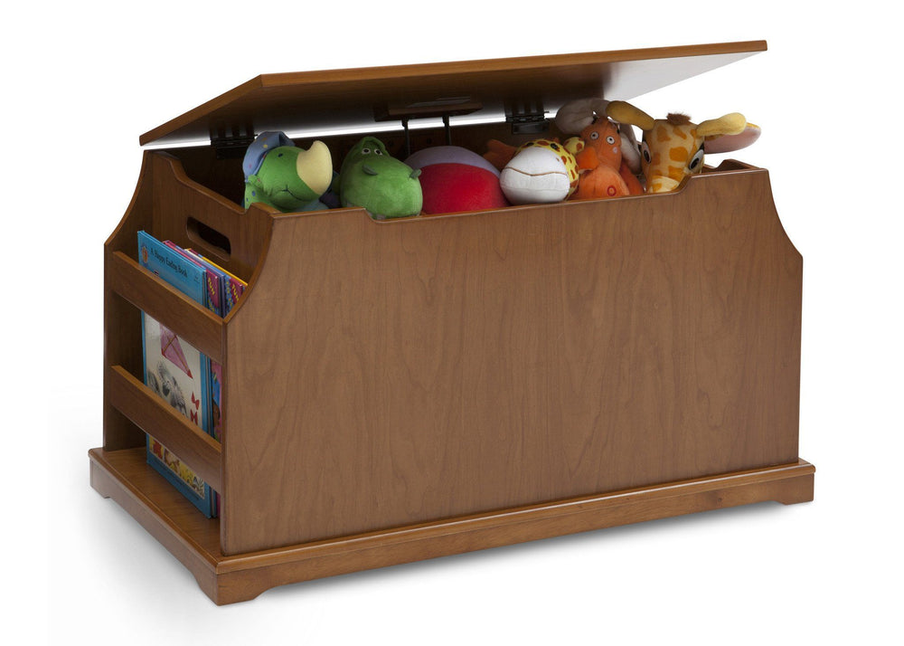 Delta Children Warm Honey (251) Wood Toy Box Side View with Props b4b