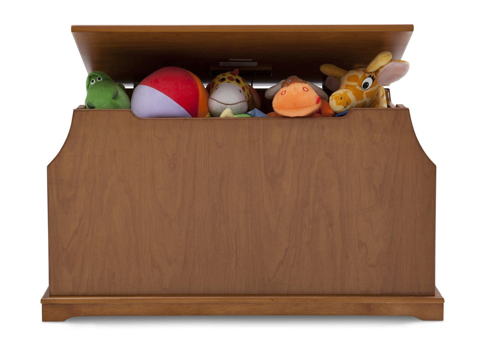 Delta Children Warm Honey Wood Toy Box Front View with Props