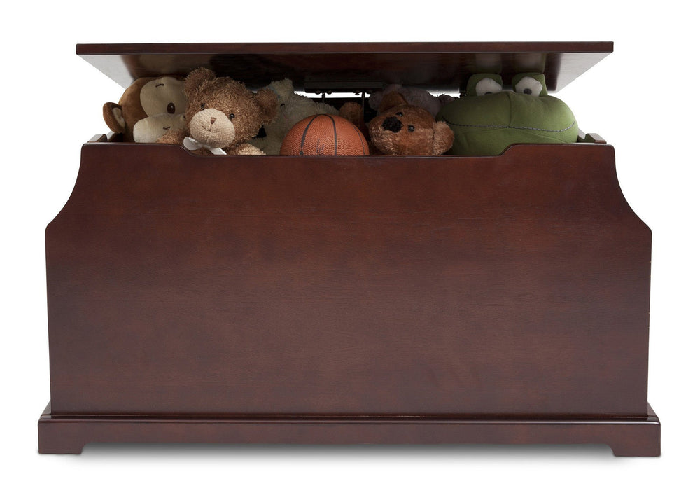 Delta Children Black Cherry Espresso (607) Wood Toy Box Front View with Props c4c