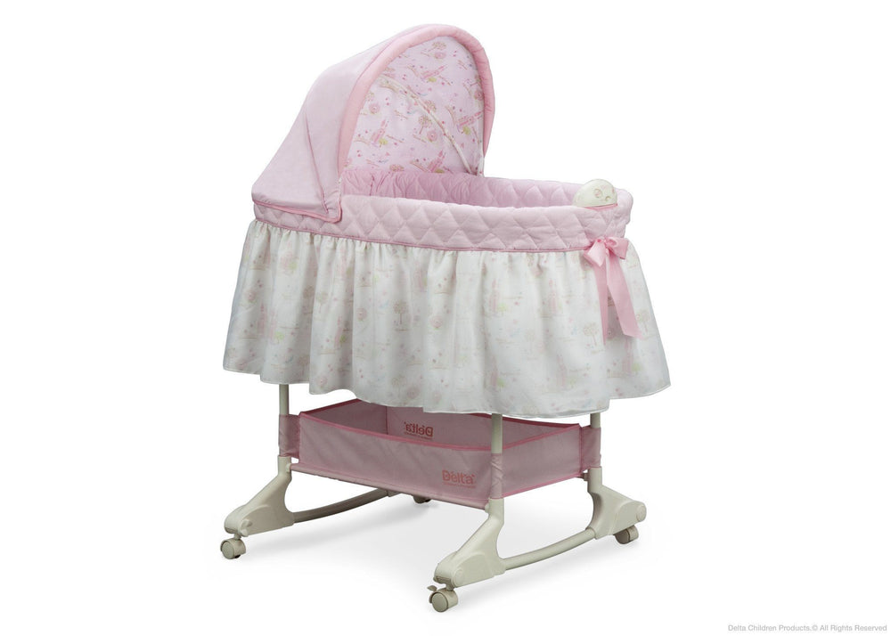 Delta Children Dream Princess Rocking Bassinet, Side View a1a