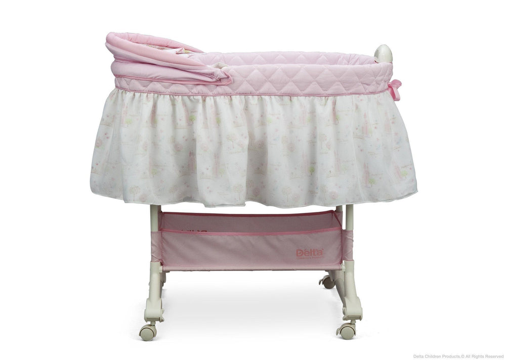 Delta Children Dream Princess Rocking Bassinet, Full Side View with Canopy Option a2a