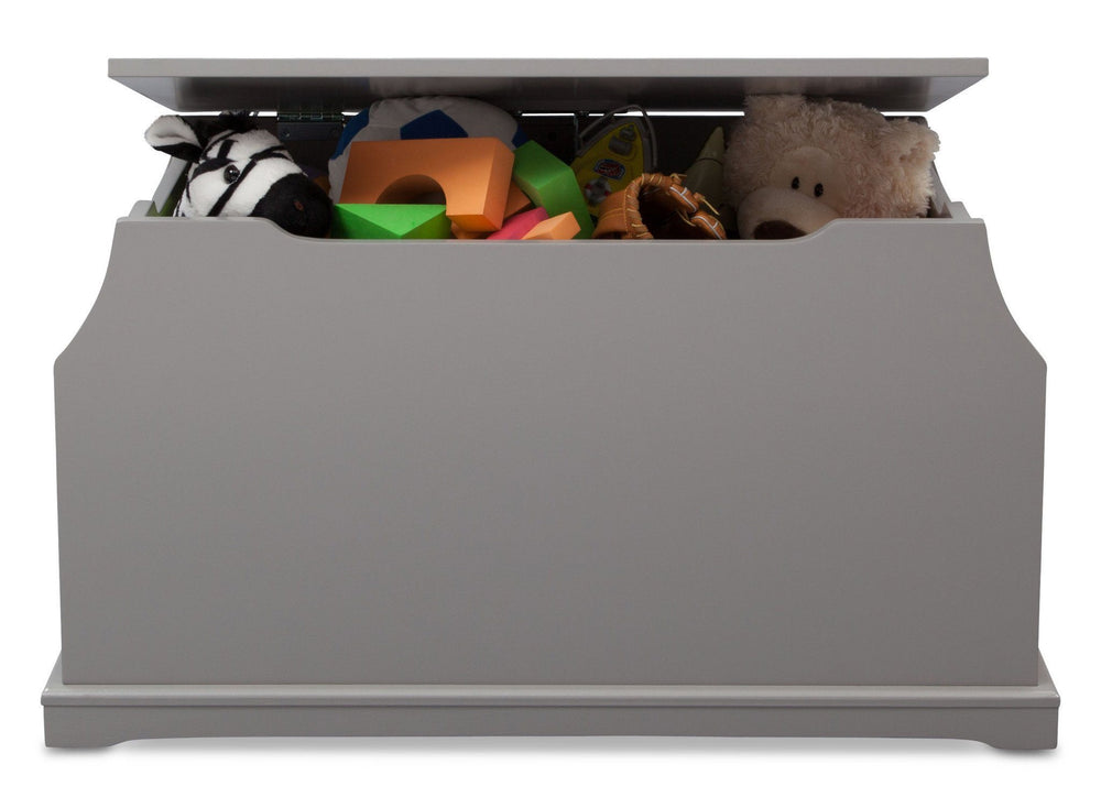 Delta Children Classic Grey (028) Next Steps Toy Box, Front View with Props
