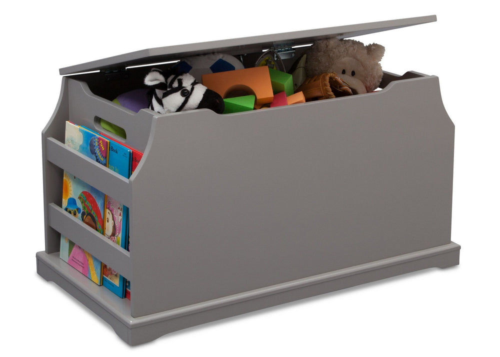 Delta Children Classic Grey (028) Next Steps Toy Box, Side View with Props a4a