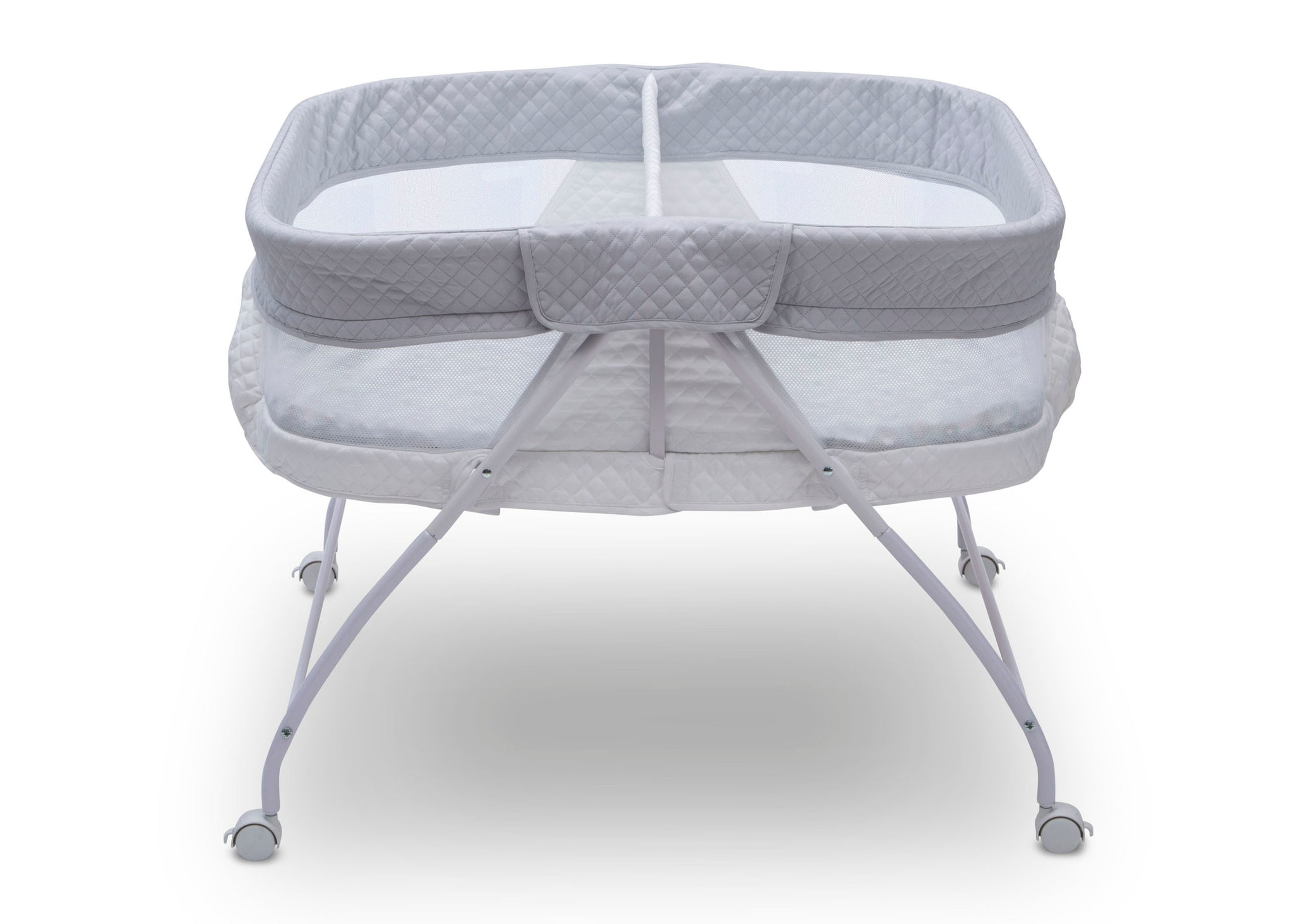 Little Folks by Delta Children Aqua Geo (2040) Twin EZ Fold Ultra Compact Double Bassinet, Front Silo View