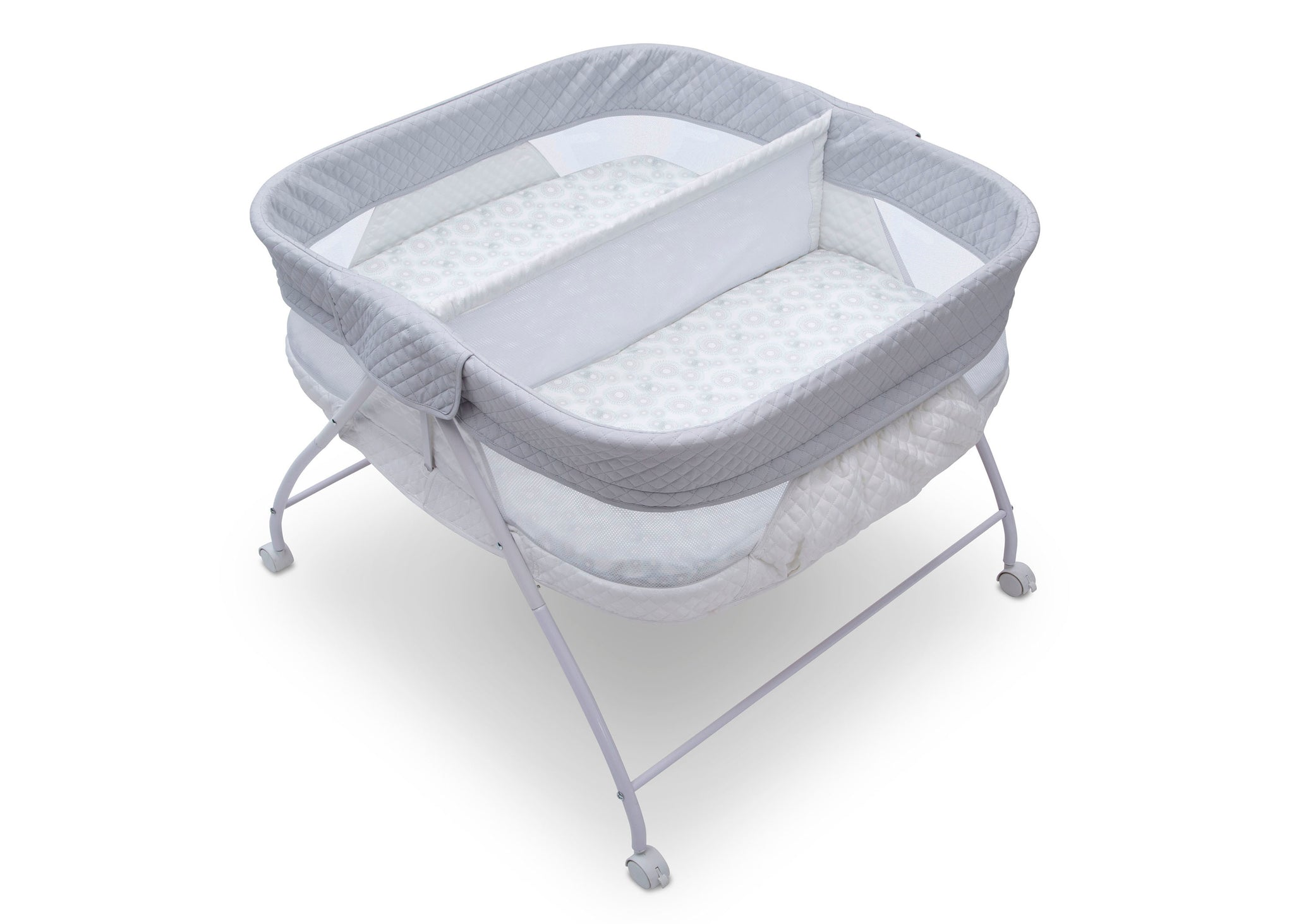 Little Folks by Delta Children Aqua Geo (2040) Twin EZ Fold Ultra Compact Double Bassinet, Top Silo View