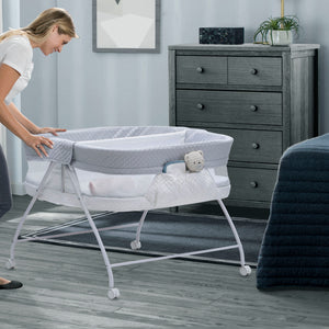 Little Folks by Delta Children Aqua Geo (2040) Twin EZ Fold Ultra Compact Double Bassinet, Room View