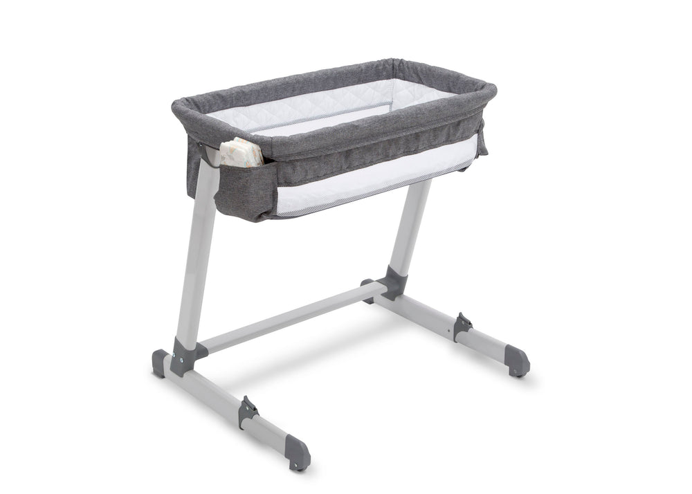 Beautyrest Grey Tweed (2012) Deluxe By the Bed Bassinet (25501), Silo with Props, a4a