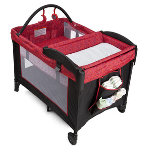 Delta Children Deluxe Playard Black & Red Circular Motion Side View 1 a1a