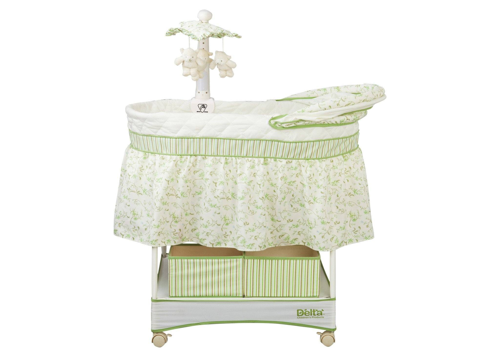 Delta Children Scarborough White (110) Smooth Glide Bassinet Full Left View b3b