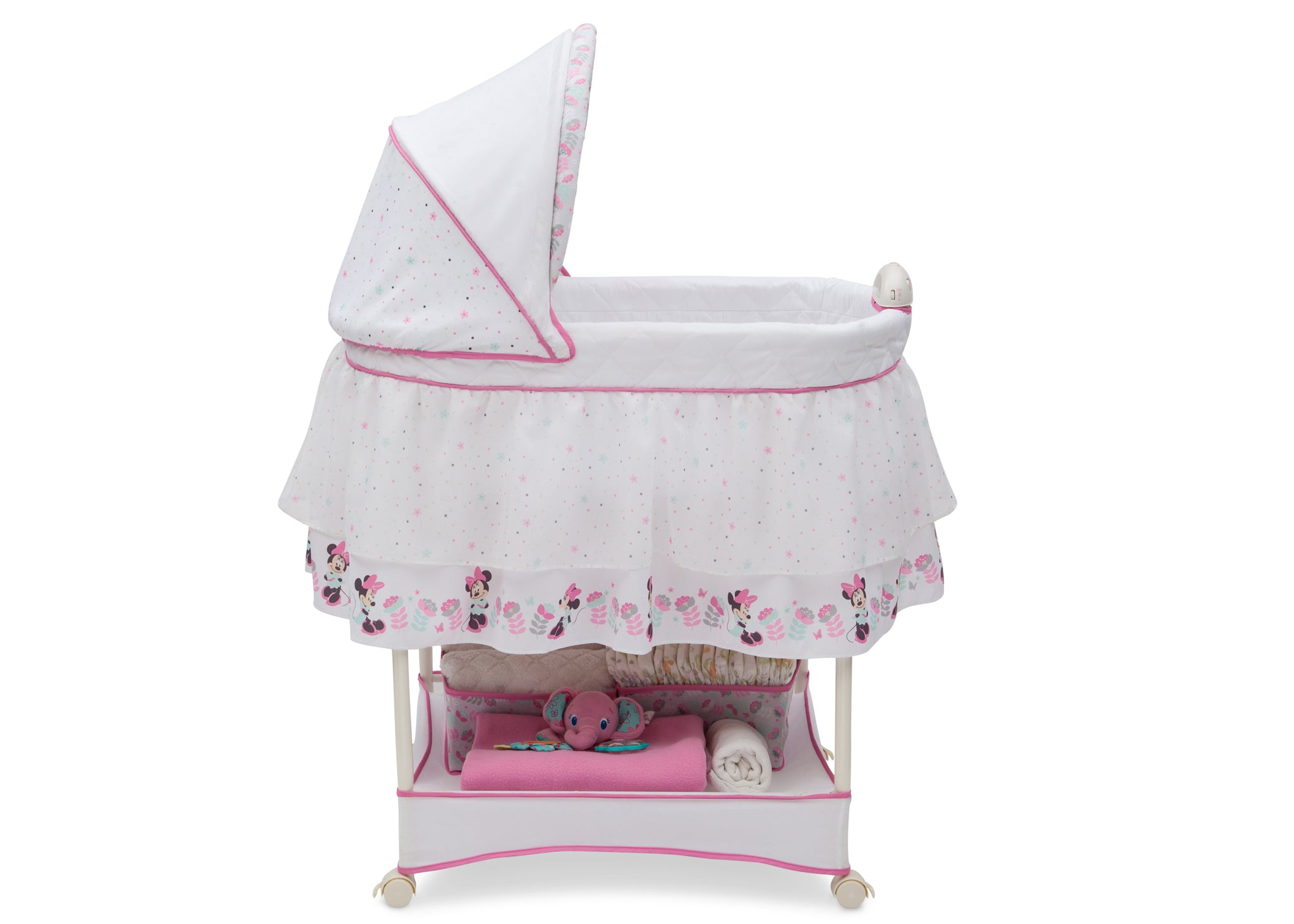 Delta Children Minnie Boutique (668) Ultimate Sweet Beginnings Bassinet (27202) Side Profile, a2a