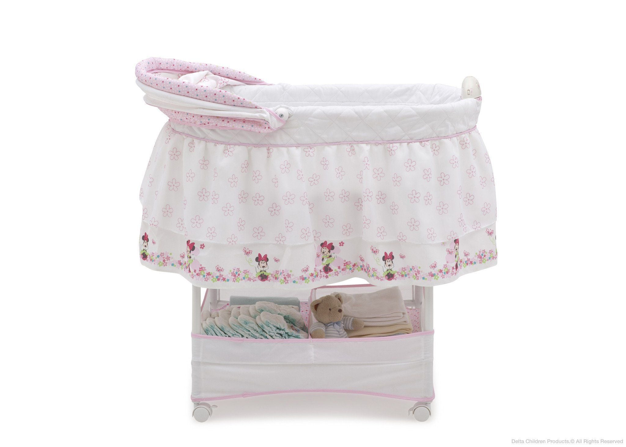 Delta Children Minnie Bows and Butterflies (695) Gliding Bassinet (27202), Full Right Side View with Canopy Option 1 h2h