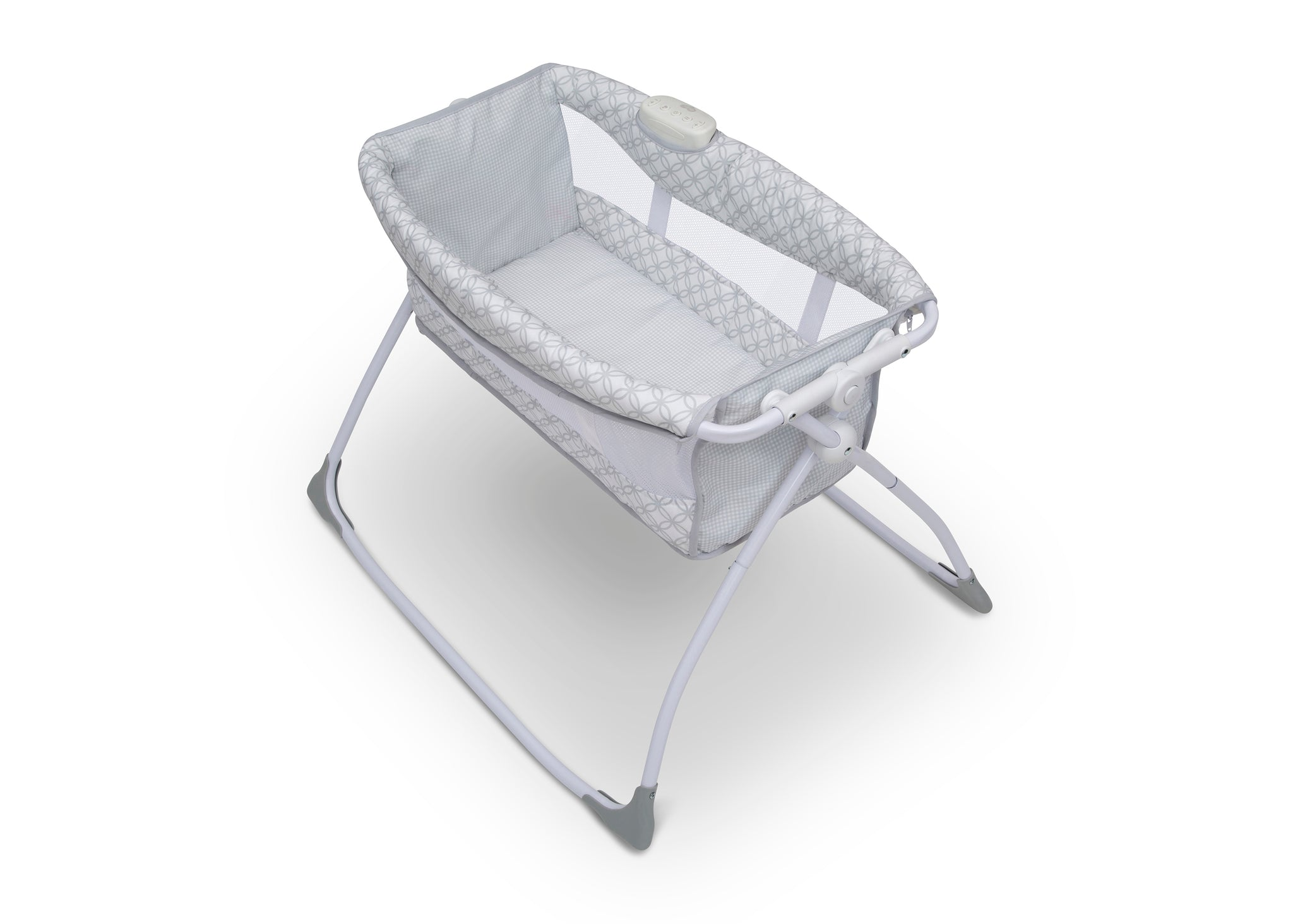 Delta Children Grey Infinity (434) Newborn Soothing Sleeper Bassinet, Top Silo View