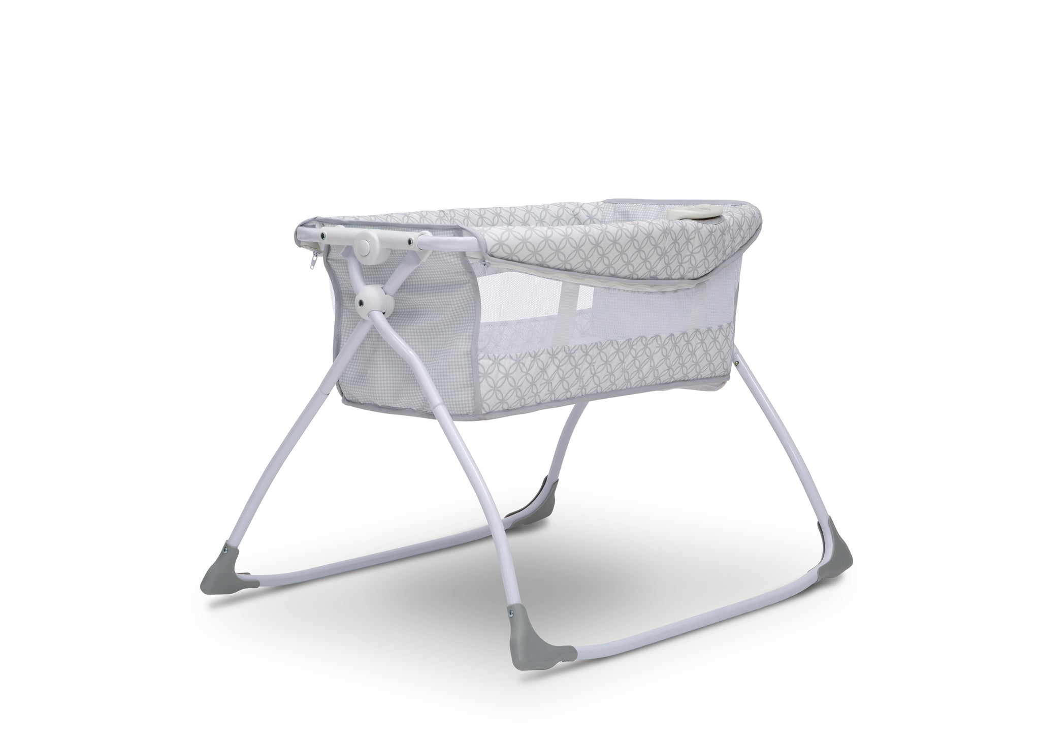 Delta Children Grey Infinity (434) Newborn Soothing Sleeper Bassinet, Right Silo View