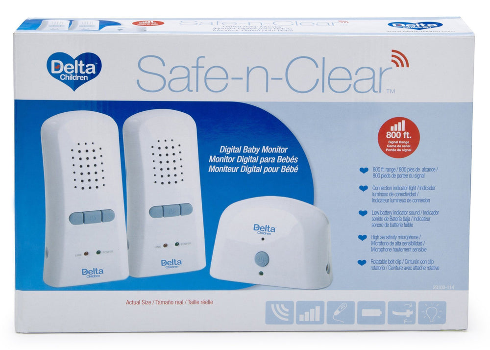 Delta Children Safe-n-Clear 2 White Parent Digital Baby Monitor (non LED), Boxed View a3a