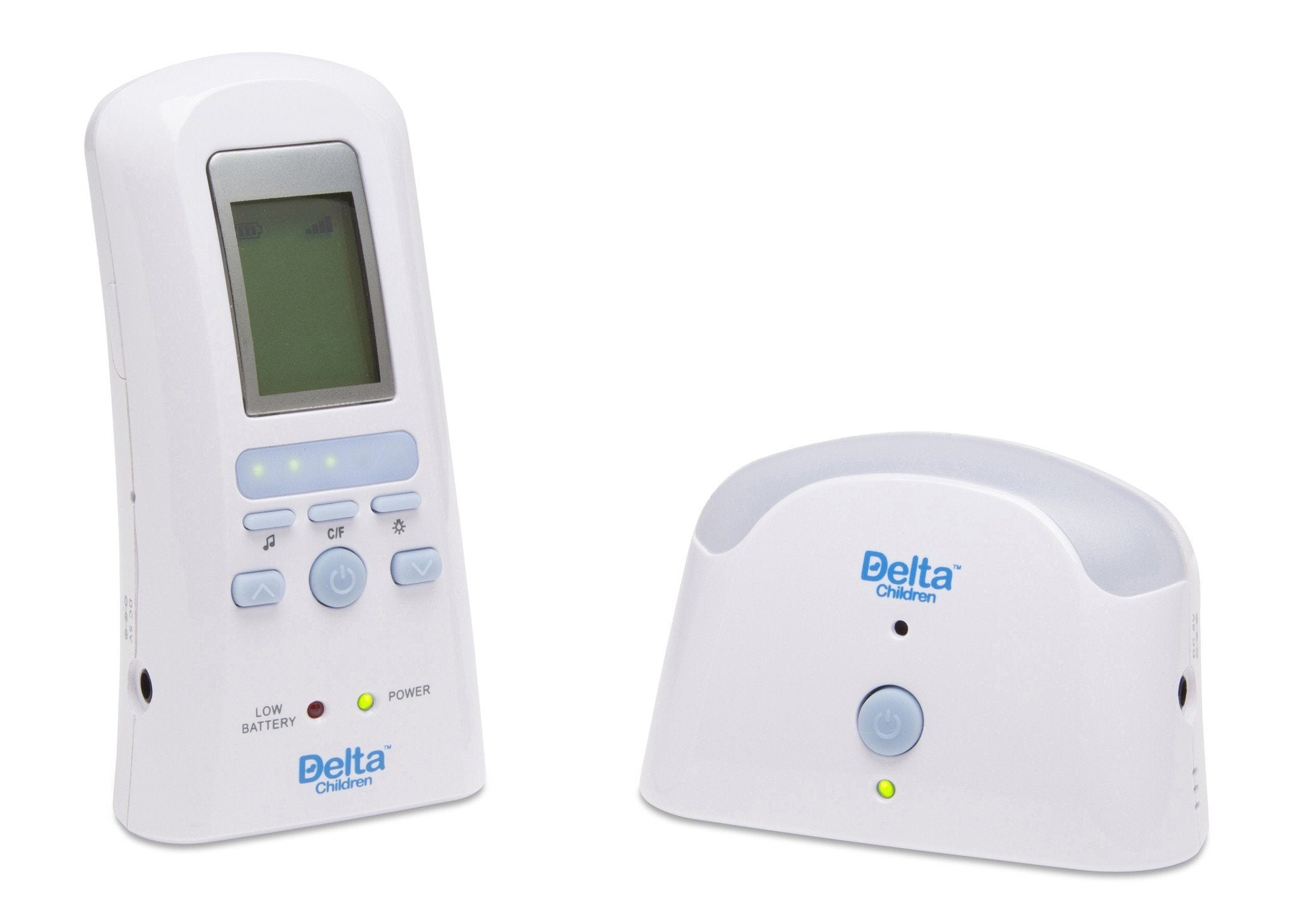 Delta Children White (114) Safe-n-Clear Digital Audio Monitor with Temperature Sensor, Side View a1a