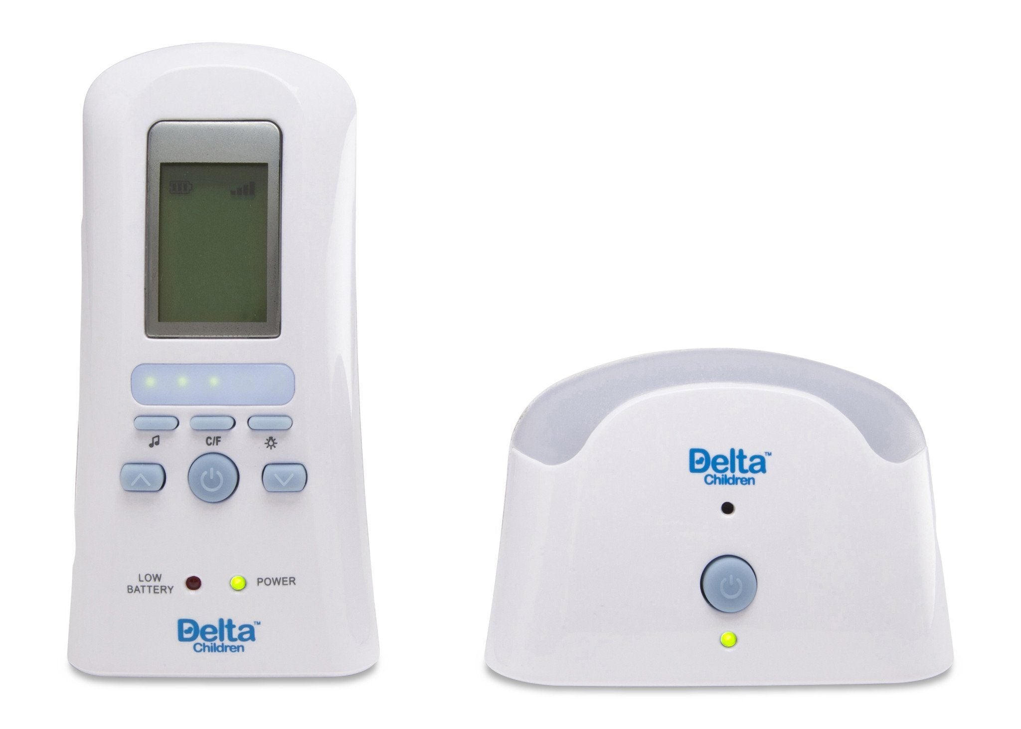 Delta Children White (114) Safe-n-Clear Digital Audio Monitor with Temperature Sensor, Front View a2a