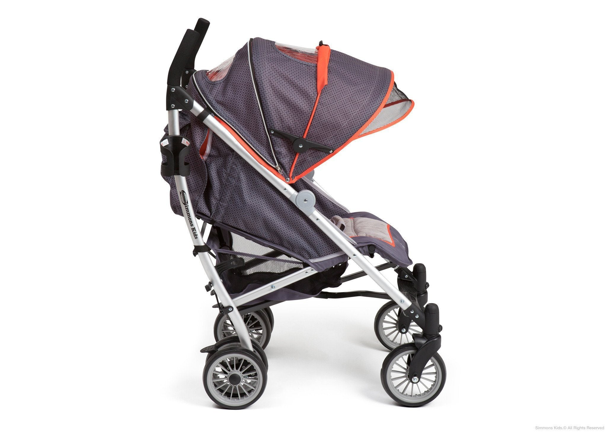 Simmons Kids Elite Comfort Stroller Charcoal (029) Side View with Canopy a4a