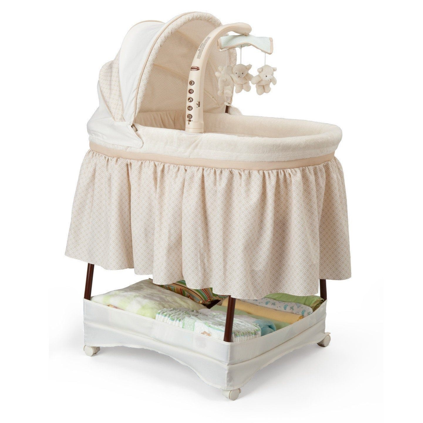 kids bed side view. Delta Children Sand (274) Time Elite Gliding Bassinet, Right Side View C1c Kids Bed P