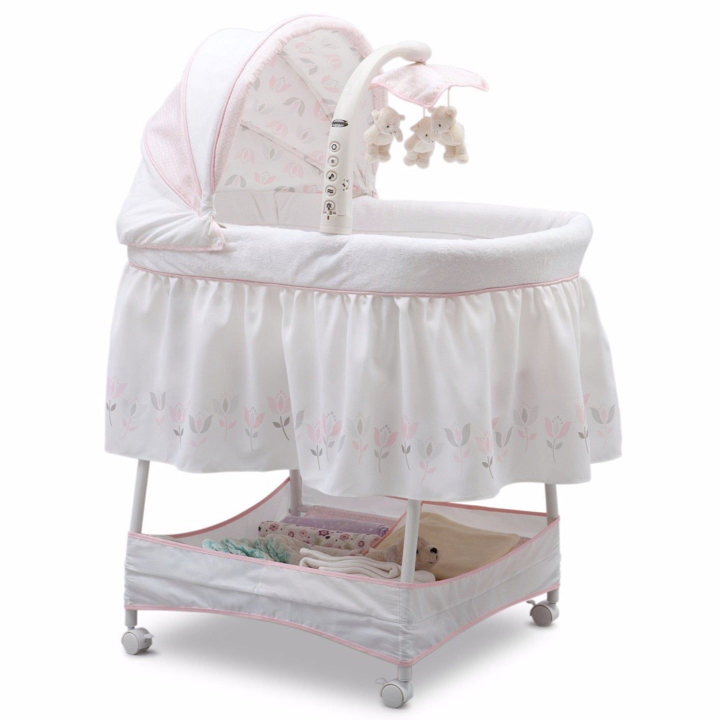 Delta Children Tulip Garden (665) Slumber Time Elite Gliding Bassinet, Right Side View e1e