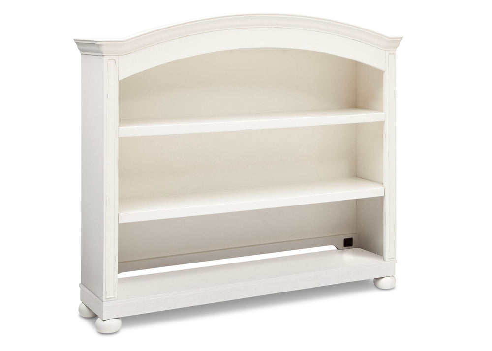 Simmons Kids Vintage White (120) Castille Bookcase & Hutch, Side View with atop Base a2a