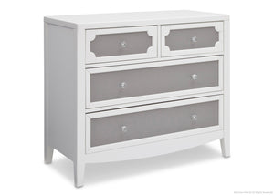 Simmons Kids Antique White/Grey (066) Hollywood 4 Drawer Chest Angle View a2a